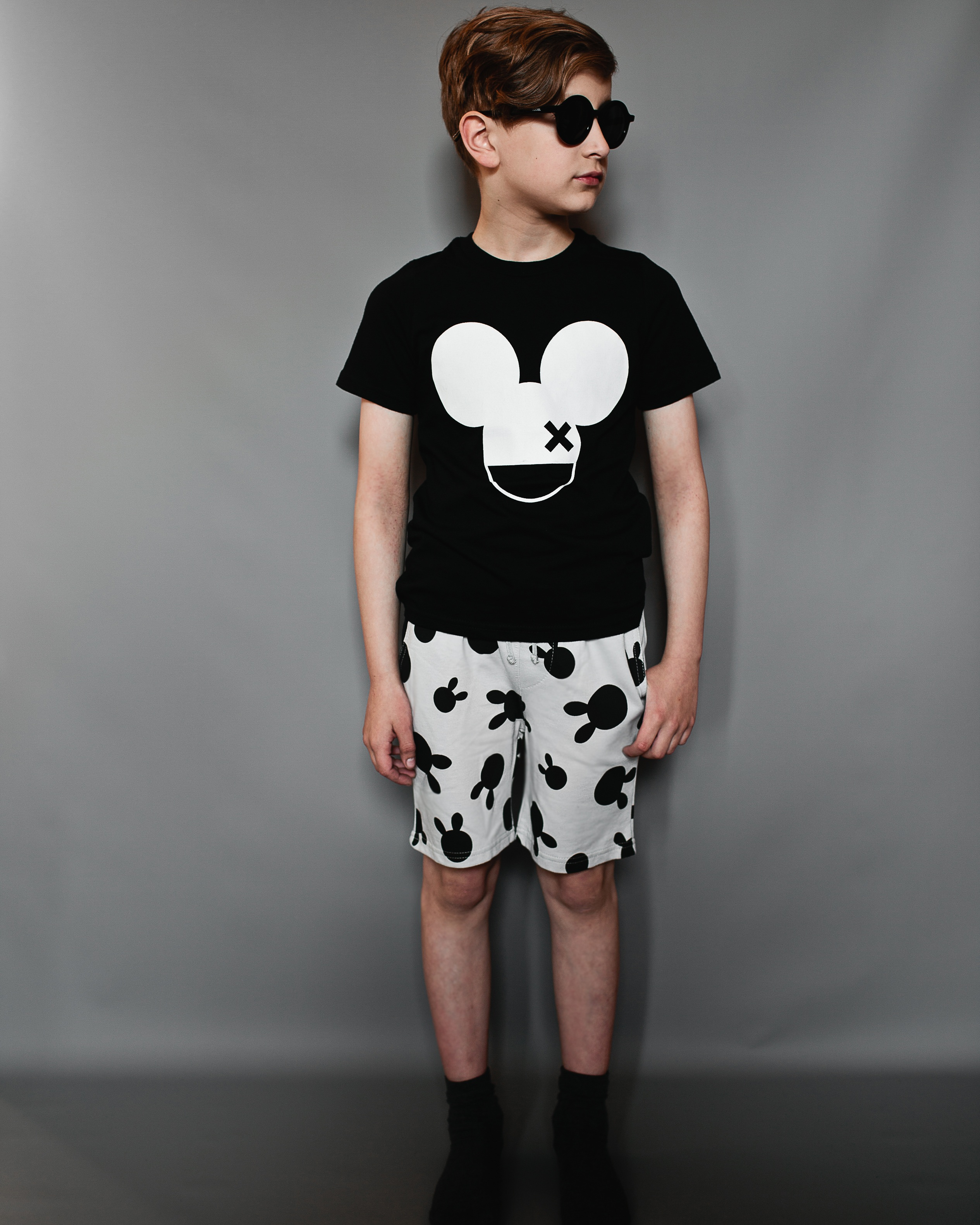 BL Fin T S hirt, Inky Black, Mouse X & Shorts, Oyster, Rabbit Dots